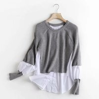 Women's Sweaters VANOVICH Lantern Sleeve Stitching Fake Two-piece Knitted Shirt Sweater 2022 Autumn And Winter Patchwork Pullover