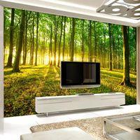 Custom Self Adhesive Wallpaper Modern 3D Stereo Forest Sunshine Nature Scenery Mural Living Room TV Sofa Backdrop Home Decor Wallpapers