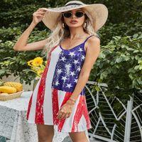 Sommerfrauen personalisierte Patchwork Streifen Flagge Buchstaben Druckkleid Mode V-Ausschnitt Ärmelloser Hosenträger Rock Outdoor Beach Gilr's Casual Kleider G61A241