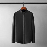 Uzun Gömlek 2021 Erkek Yeni Lüks Standı Yaka Kol Metal Düğme Rahat Erkek Elbise Gömlek Artı Boyutu 4XL Slim Fit Parti Adam Gömlek