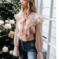 Women's Blouses & Shirts KHALEE YOSE Pink Ruffles Blouse Shirt Women Autumn Spring Long Puff Sleeve Bows Ins Patchwork Casual Chic Tops