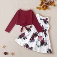 Kids Baby Girls Solid Tops Floral Print Princess Dress Clothes Outfits Set Cute Long Sleeve Toddler Costume Children's Clothing Sets