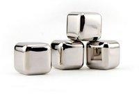 Cubes de vin Cubes en acier inoxydable Réutilisable Whisky Stones Whiskey Chiller Chillard Chilling Rocks boit des cubes de refroidisseur avec étui GWB10192