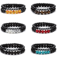 Bangle 2pcs Set Natural Stone Strands Charm Bracelets For Women Men Yoga Sports Beaded Party Club Decor Jewelry Fashion Accessories