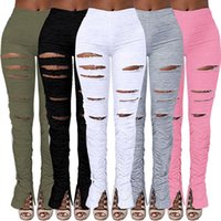 Women Flare Pants Joggers High Waist Pleated Trousers Stacked Sweatpants Fitness Ruched Pant Hole Sport Leggings 2XL