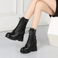 2020 Autumn and Winter New round Head Lace-up Mid-Calf Versatile Thick Bottom Fashion Personality Mid Heel Martin Boots Motorcycle Boots