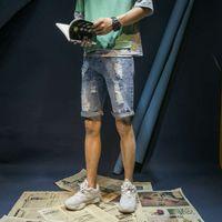 Männer Sommer kurze Jeans Löcher Denim Shorts Hohe Qualität Männer Hellblaue Jean Shorts Slim Fit Denim Jeans Casual