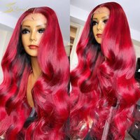 Lace Wigs HD Transparent Red Colored 13X6 Front Wig Long Body Wave 99J Burgundy Real Human Hair For Black Women Full Frontal