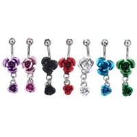 Stainless Steel Hypoallergenic belly button Rings Crystal Rose Flower Body Piercing bar Jewlery for women Bikini Fashion Navel Rings 2951 Q2