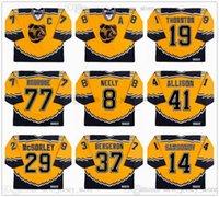 Boston Bruins rétro jaune jerseys de hockey jaune 8 cam NEELY 14 Sergei Sansonov 19 Shawn Thornton 29 Marty Mcsorley 37 Patrice Bergeron 41 Jason Allison 77 Ray Bourque