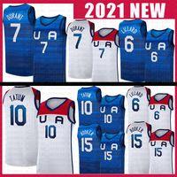 Basketball Jersey Team America 2021 Etats-Unis Tokyo Olympiques d'été Bleu Dark Blanc Damian 6 Lillard Kevin 7 Durant Jayson 10 Tatum Devin 15 Booker Contraste Couleur