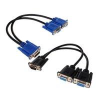 Cable Splitter Computer a Dual 2 Monitor Adaptador Y Masculino Femenino VGA cable de cable para PC Cables de cables portátiles