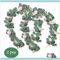 اكليل الزهور الزخرفية الإمدادات الاحتفالية الرئيسية garden2 قطع فو النبات اوكالبتوس كرمة جارلاند مع حزام الفاوانيا كرات ذهبية rosebuds ل
