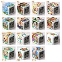 2021 Neue Cocomelon Action-Figuren LED 7 Farben Ändern Berührungslicht Alarm Schreibtisch Watch Jungen Mädchen Spielzeug DHL Schneller Versand 15 Arten