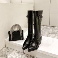 Fashion Winter Designer Luxury Womens Boots Shoes Leather Sheepskin Metal Side Zipper Pocket Cowboy Knight Boot Thick Heel Over The Knee Women Heatshoes