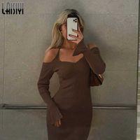 Women's Dress Fashion Halter Neck Shoulder Long-sleeved Slim Bag Hip Dress Women Elegant Dresses 2021 Female New Clothes G1011