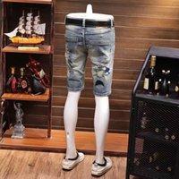 jeans verão fino fino bordado denim shorts estilo homens elastic capris personalidade