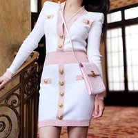 Sexy Women Knitted Dress Sweater Defined Waist Elastic Single Breasted V Neck Knit One Piece Dresses With Tags
