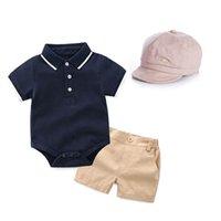مجموعات الملابس بنين البدلة الطفل ملابس الأطفال الزي الصيف الوليد تتسابق الرضع ارتداء قصيرة الأكمام رومبير السراويل القبعات 3 قطعة / مجموعات B4506
