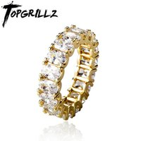 Wedding Rings TOPGRILLZ 2021 Iced Fashion Simple Bling Big Cz Engagement For Women Hip Hop Jewelry Girls Gift
