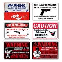 Funny Warning Sign signe métal panneau d'étain signer la décoration murale pour homme cave poulet coop, sans intrusion stickers muraux peinture de fer