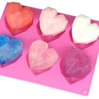 6 holte 3d mousse bakvormen zeep vorm gebak gereedschap taart diamant siliconen liefde schimmel decorating hart