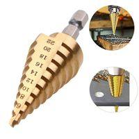 Portes professionnelles BITS 4-22MM HEX Titanium Titanium Outil de bit 0.2inch Coupeur de trou de cône en acier à haute vitesse