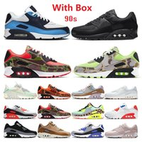 Mit Box air max airmax 90 Laufschuhe 90er Jahre Männer Frauen Kissen Chaussures Camo UNC USA Volt Supernova Triple White Black Herren Trainer Outdoor Sports Turnschuhe