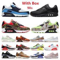 상자 90 러닝 신발 90 년대 남성 여성 쿠션 Chaussures Camo Unc USA 볼트 슈퍼 노바 트리플 화이트 블랙 망 트레이너 야외 스포츠 스니커즈