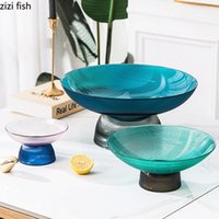 Dishes & Plates Stained Glass Fruit Bowl Dessert Snack Dish Quality Serving Trays Coffee Table Tea Saucer Cake Stand Large Plate