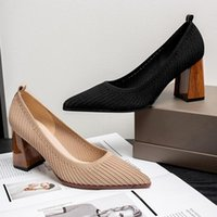 Dress Shoes 2021 Mesh Breathable High Heels Quality Fabric Shallow Toe Summer Party Heel Pointed Mouth Women