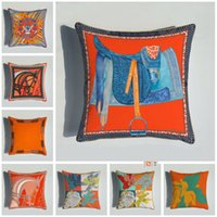 Caballos Flores de impresión Caja de almohada Tiro serie naranja Cubiertas de almohada para silla de hogar Sofá decoración cuadrada Pillowcases