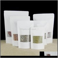 Storage Bags White Kraft Paper Window Stand Up Pouch With Zipper Dried Fruit Nut Tea Packaging Bag Lz0164 Vlhns Crvn6