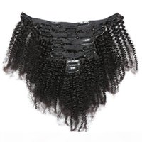 Virgin Brazilian Человеческие волосы Афро Кудрявый Кличный клип в наращиваниях волос 8-20 дюймов Натуральный цвет для чернокожих женщин