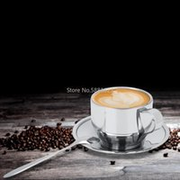 Cups & Saucers Fall Resistant Stainless Steel Cup Coffee Mug With Handle Saucer Spoon Double Wall Insulated Tea Cafe Milk Simple