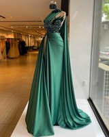 Hunter Green Evening Dress Sequins Slim Fit One Shoulder Side Split Pleats Prom Gowns Beaded Feather Party Dresses