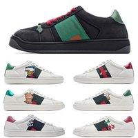 [Original Box + Socken + Tag] Drucken Streifen Top Qualität Freizeitschuhe Grau White Ace Gestickte Herren Frauen Echtes Leder Designer Sneakers Luxus Größe 36-44