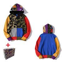 Affen Männer Hoodies Frauen Strickjacke mit Kapuze Pullover Reißverschluss Jacke Hai Sternenhimmel Leuchtende Tarnung Bring Tasche M-3XL