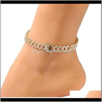 Jewelrywomens Bracelet Iced Out Cuban Link Anklets Bracelets Gold Sier Pink Diamond Hip Hop Anklet Body Chain Jewelry Drop Delivery 2021 Hmz5