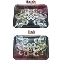 Double-sided color 180*125mm Tobacco Rolling Metal Tray Handroller Roll Case mixed Styles Smoking Accessories Roller Tobacco Grinder