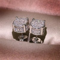 Choucong Hip Hop Stud Earring Vintage Jewelry 925 Sterling Silver Yellow Gold Fill Pave White Sapphire CZ Diamond Sparkling Women Men Earrings For Lover Gift