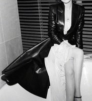 Women's Leather & Faux Women Slim Black Adjust Waisted Tuxedo Jacket Female Spring Fall High Street Fashion Long PU Coat Clothes