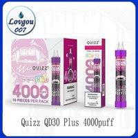 Quizz QD30 Artı Tek Kullanımlık Pods Sigara Cihazı Kiti E-Sigaralar 4000 Puffs Şarj Edilebilir USB 650 mAh Pil 12 ml Tercih Pod RGB Işık Vape Kalem