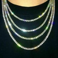 Out Tennis Chain Real Zirconia Stones Silver Single Row Men Women 3mm 4mm 5mm Diamonds Necklace Jewelry Gift for Theme Party