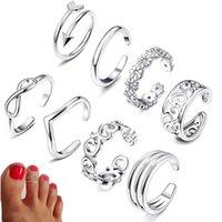 Sommer Strandferien Knuckle Fuß Ring Set Offene Zehenringe Für Frauen Mädchen Fingerring Einstellbare Schmuck Großhandel Geschenke P0818