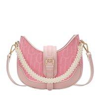 Evening Bags Half Moon Design Small Canvas Armpit Crossbody Bag For Women 2021 Luxury Pearl Chain Shoulder Handbag Female Simple Travel Tote
