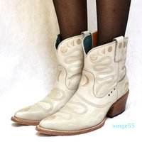 Boots Winter Women Ankle Ladies Embroidery Vintage Leather Snake & Moon Phase Western Pointed Toe Booties Shoes