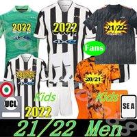 최고의 팬 플레이어 버전 축구 유니폼 2021 2022 Ronaldo Dybala Morata Chiesa McKennie 축구 키트 셔츠 22 22 Juve Men + Kids 4 번째 4 번째 세트 양말 양말 골키퍼