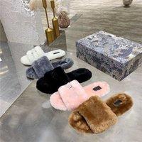 Pantofole di lana donna cognac sandali marroni inverno pelliccia invernale lettere fluffy slitta con sandalo stampato ricamato scivolone antiscivolo con scatola
