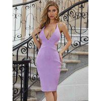 Sladuo женский фиолетовый V-образным вырезом туго повязки коктейль платье для вечеринки сексуальный Halter без рукавов знаменитости взлетно-посадочная полоса вечерняя связь 2021 лето